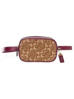 Coach Signature Jacquard   Leather Belt Bag In Brown  0130eda005525