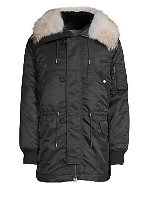 a0543f0aa620 Yves Salomon - Rabbit   Coyote Fur-Trimmed Hooded Parka