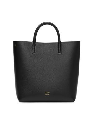 OAD Tall Leather Carryall Tote in True Black