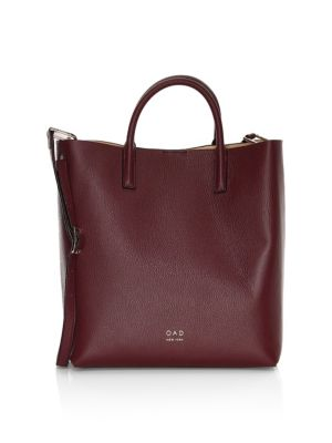 OAD Tall Leather Carryall Tote in Bordeaux