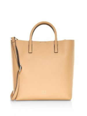 OAD Tall Leather Carryall Tote in Light Camel