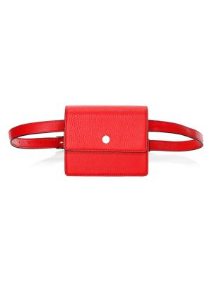 OAD Mini Leather Messenger Belt Bag in Rouge
