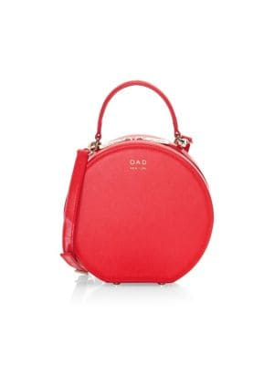 OAD Mini Leather Circle Satchel in Rouge