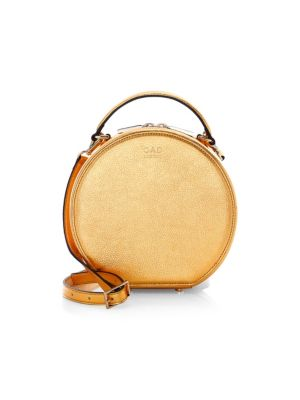 OAD Mini Metallic Leather Circle Satchel in Honey Gold