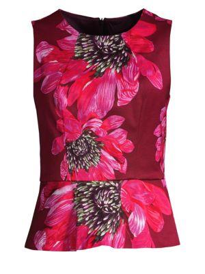 TRINA TURK Milagro Floral-Print Peplum Top in Multi
