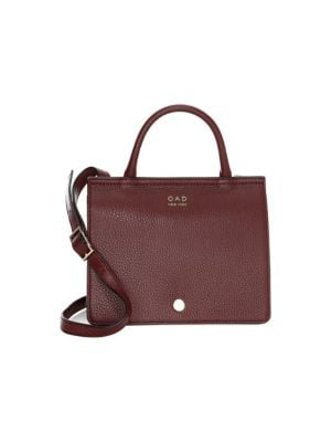 OAD Mini Prism Leather Satchel in Bordeaux