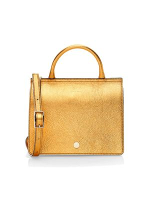 OAD Mini Leather Prism Satchel in Honey Gold