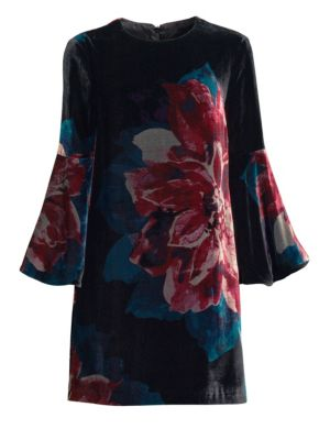 Astral Floral Velvet Bell-Sleeve Mini Dress in Multi