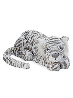 "Image of Plush tiger toy with soft stripes and fluffy ears Length, 33"" Polyester Spot clean Imported. Children's Wear - Infant Toys And Gifts. Jellycat. Color: White."
