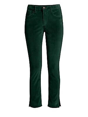 Image of A velvet finish transforms these ankle-length jeans detailed with slit hems. Belt loops Zip fly with button closure Five-pocket styling Hem slits Cotton/polyurethane Machine wash Made in USA of imported fabric SIZE & FIT Ankle silhouette Rise, about 10.25