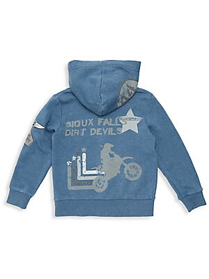 Image of A mineral wash enhances the street-style look of this playful graphic hoodie. Attached hood Long sleeves Ribbed cuffs and hem Zip front Sleeve patches Split kangaroo pockets Back graphics Cotton/polyester Machine wash Imported. Children's Wear - Contempor