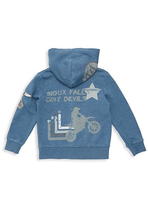 Image of A mineral wash enhances the street-style look of this playful graphic hoodie. Attached hood. Long sleeves. Ribbed cuffs and hem. Zip front. Sleeve patches. Split kangaroo pockets. Back graphics. Cotton/polyester. Machine wash. Imported.