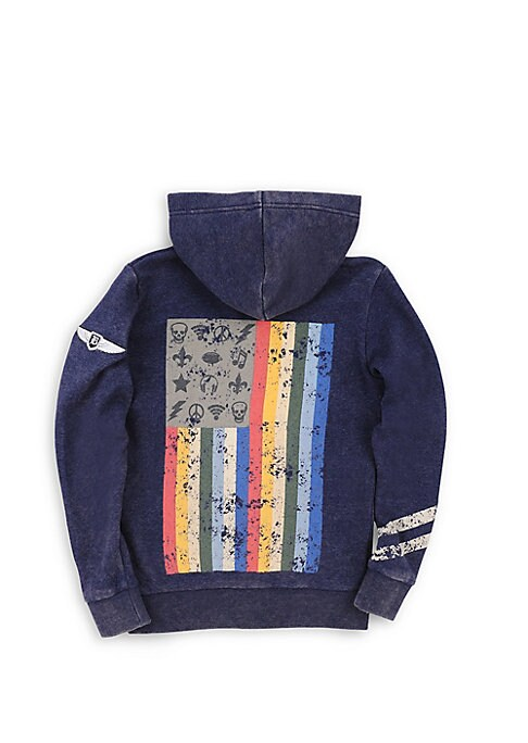 Image of A mineral wash enhances the street-style look of this playful graphic hoodie. Attached hoodie. Long sleeves. Zip-front closure. Split kanga pockets. Sleeve graphics. Colorful full back graphic. Rib-knit trim. Cotton/polyester. Machine wash. Imported.