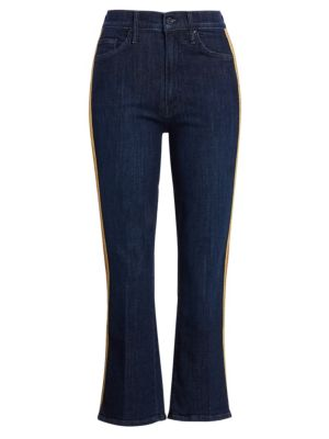 Insider High Rise Side Stripe Cropped Flare Jeans by Mother