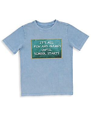 Image of A playful chalkboard graphic defines this soft mineral-wash tee ideal for back-to-school ensembles. Crewneck Short sleeves Embroidery detail Cotton Machine wash Imported. Children's Wear - Contemporary Children. Butter. Color: Stellar. Size: Small (7).