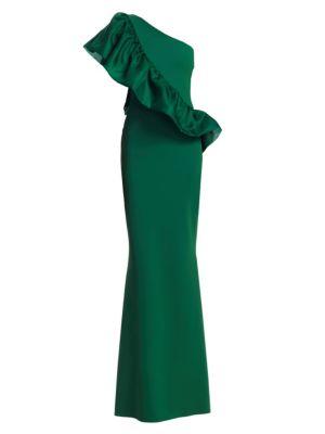 Marine Organza Ruffle Trumpet Gown by Chiara Boni La Petite Robe