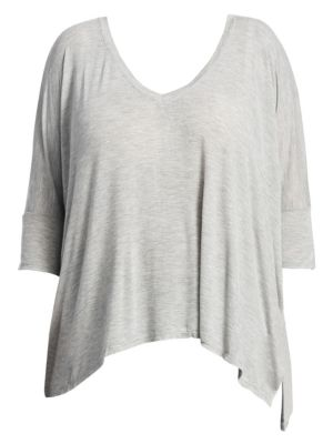 SLINK JEANS Solid Asymmetric Hem Top in Heather Grey