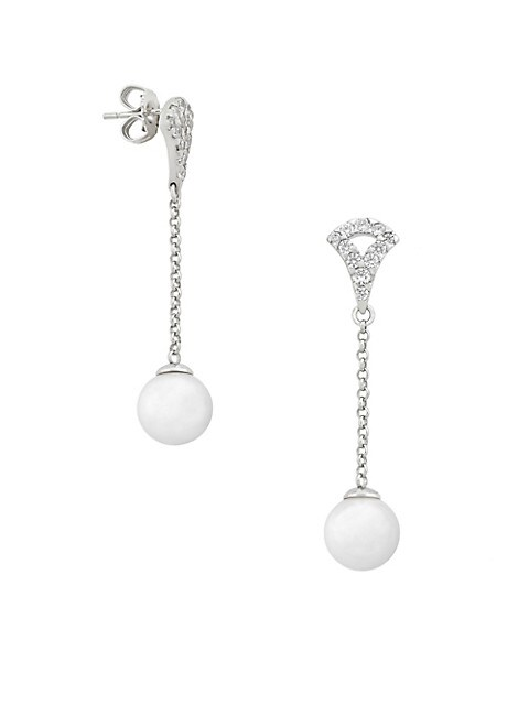 Exquisite Faux-Pearl & Crystal Chain Drop Earrings