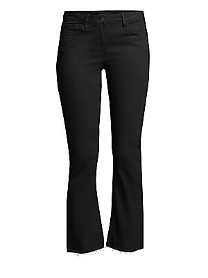 "Image of Chic cropped bootcut jeans fall to a raw hem. Five pocket style Zip fly Mid-rise Cotton/polyester/lycra Machine wash Made in USA SIZE & FIT Rise, about 9"" Leg opening, about 14"" Inseam, about 27"" Model shown is 5'10"" (177cm) wearing a US size 4. Contempor"