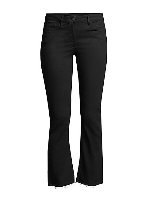 """Image of Chic cropped bootcut jeans fall to a raw hem. Five pocket style. Zip fly. Mid-rise. Cotton/polyester/lycra. Machine wash. Made in USA. SIZE & FIT. Rise, about 9"""".Leg opening, about 14"""".Inseam, about 27"""".Model shown is 5'10"""" (177cm) wearing a US size 4."""