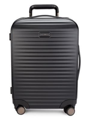 Polycarbonate 21-Inch Suitcase With Leather Handles in Black