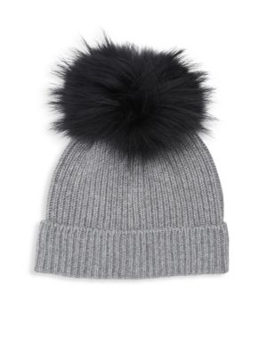 AMICALE Fox Fur Pom-Pom Cashmere Beanie in Grey Black