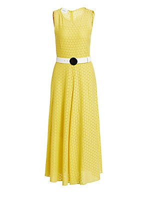 Image of A belt with a rounded buckle serves to anchor this dress, adding artful appeal. The sweet A-line silhouette of the garment pairs well with its circular lace in a cheery yellow hue. Scoopneck Sleeveless Concealed back zip closure Lined Polyester/viscose Dr