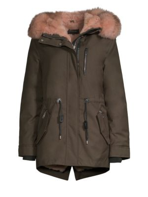 Mackage Chara-X Fox & Rabbit Fur-Trim Down Coat