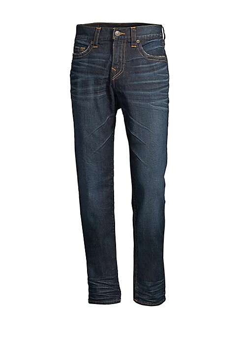 """Image of Slim-fit jean with built-in stretch for optimal comfort. Banded waist. Belt loops. Zip fly with button closure. Five-pocket styling. Cotton/elastane. Machine wash. Imported. SIZE & FIT. Slim fit. Rise, about 10.75"""".Inseam, about 34"""".Leg opening, about 14"""""""