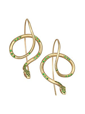 """Image of From the Fauna Collection. Golden serpentine earrings accented by green tsavorite garnet pave and finished with ruby eyes. Tsavorite garnet Ruby 18K yellow gold Wire hooks Made in USA SIZE Drop, about 1.25"""". Fashion Jewelry - Modern Jewelry Designers > Sa"""