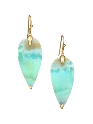 """Image of From the Fauna Collection. Exquisite drop earrings fashioned in a simple bird form cut from Indonesian Blue opal and set in gold. Opal 14K yellow gold Wire hooks Made in USA SIZE Drop, about 1.5"""". Fashion Jewelry - Modern Jewelry Designers > Saks Fifth Av"""