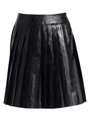 We11 Done Faux-Leather Pleated Mini Skirt
