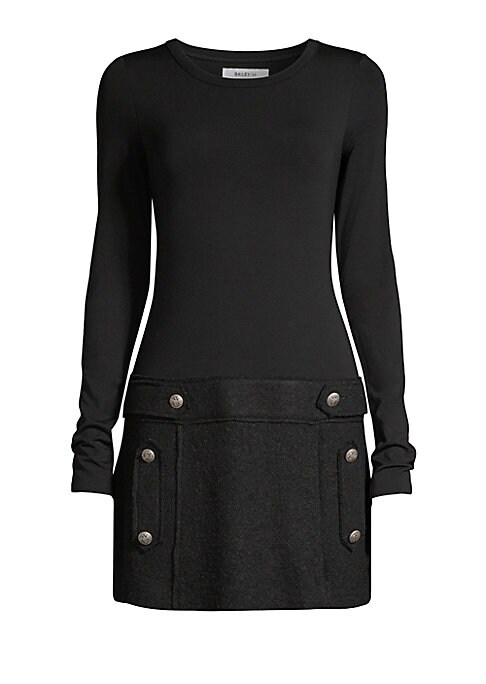 """Image of Chic drop-waist dress designed with a buttoned mini skirt. Scoopneck. Long sleeves. Pullover style. Banded waist. Lined. Rayon/wool. Dry clean. Made in USA. SIZE & FIT. About 34"""" from shoulder to hem. Model shown is 5'10"""" (177cm) wearing US size Small."""