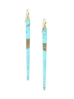 """Image of From the Fauna Collection. Elegant earrings feature slim spears of turquoise suspended from golden settings. Turquoise 18K yellow gold Wire hooks Made in USA SIZE Drop, about 3.5"""". Fashion Jewelry - Modern Jewelry Designers > Saks Fifth Avenue. Annette Fe"""