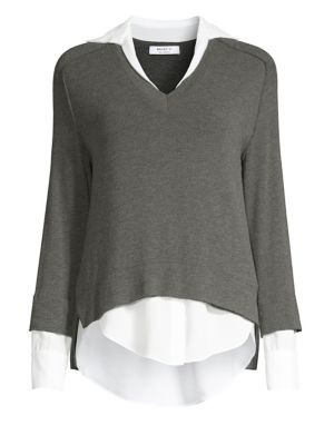 Grand Duke Layered Sweater Twofer Top, Anthracite/Chalk