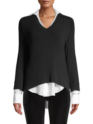 Grand Duke Layered-Look Sweater, Black/ Chalk