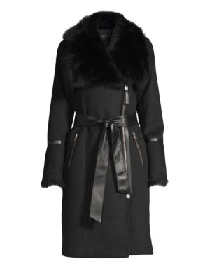 Nerea-Nw Sheepskin Belted Wool Coat, Black