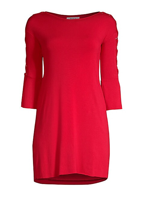 """Image of Chic lace-up sleeves updates this figure-flattering pullover sheath. Boatneck. Three-quarter sleeves. Split cuffs. Pullover style. Rayon/spandex. Dry clean. Made in USA. SIZE & FIT. About 32"""" from shoulder to hem. Model shown is 5'10"""" (177cm) wearing US s"""