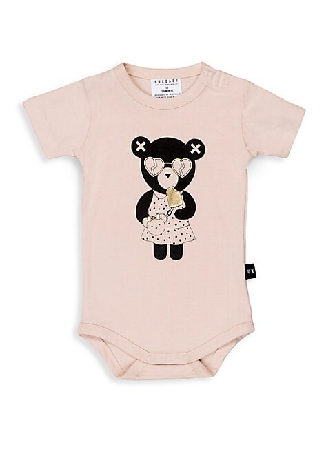 Baby Girls Heart Bear Short Sleeve Romper