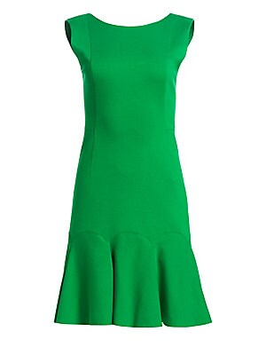 Image of A bright spring green lends itself well to the flirty silhouette of this laser cut crepe fit-and-flare dress. Scalloped seams add an architectural element to the skirt's fluted hem. Boatneck Sleeveless Concealed back zip closure with O-ring pull Scoopback