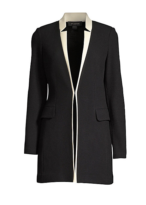 Image of An elegant work-wear essential, this knit wool-blend jacket is cut with a long-line silhouette, making it perfect to layer over skirts or trousers. It flaunts a modern inverted collar and contrasting trim for a sartorial pop. Inverted notch collar. Long s
