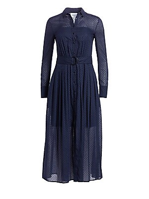 Image of A delicate sheer cotton midi dress is adorned with flocked polka dots and pleated details for a romantic vintage-inspired look. Cinched at the waist with a wide D-ring belt this garment features traditional shirtdress styling. Point collar Long sleeves Bu