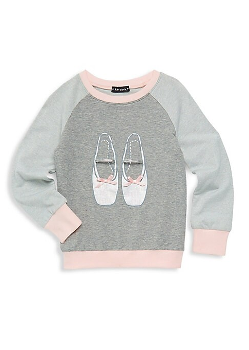 Image of An embellished ballet shoe graphic enhances this sweet sweatshirt. Crewneck. Long raglan sleeves. Ribbed cuffs and hems. Pullover style. Cotton/polyester/spandex. Machine wash. Imported.