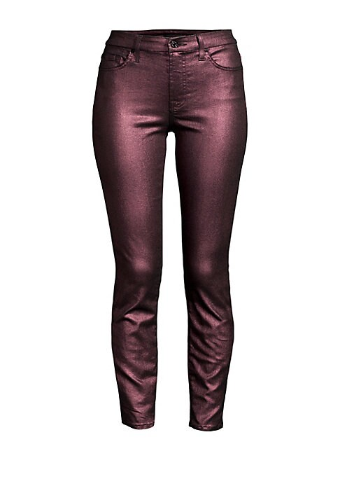 """Image of A metallicized finish imbues these ankle skinnies with a festive air. Belt loops. Five-pocket style. Zip fly with button closure. Cotton/polyester. Machine wash. Imported. SIZE & FIT. Rise, about 9"""".Inseam, about 28"""".Leg opening, about 10"""".Model shown is"""