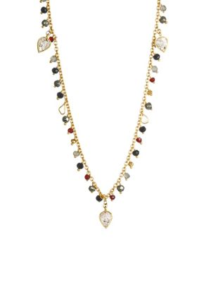SHANA GULATI Cabrini Sliced Raw Diamond & Gemstone Necklace in Gold