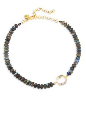 SHANA GULATI Diamond Bead Tonsa Collar Necklace in Multi