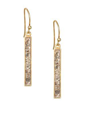 SHANA GULATI Jemma Miladi Raw Diamond & 18K Yellow Goldplated Rectangle Earrings