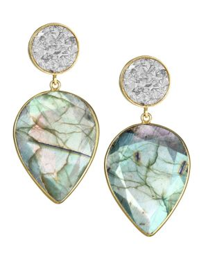 SHANA GULATI Horatio 18K Gold-Plated, Diamond & Labradorite Drop Earrings in Green
