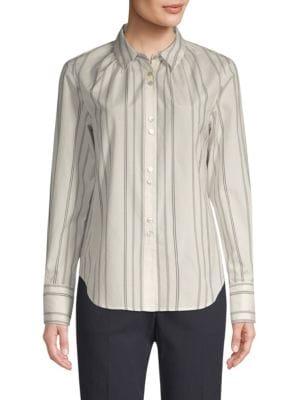 BECKEN Shirred Silk & Wool Pinstripe Shirt in White