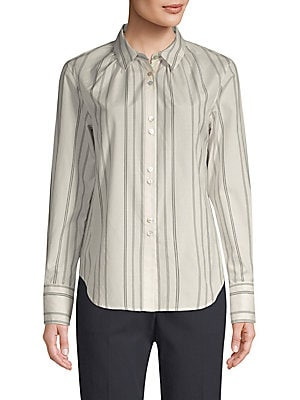 "Image of A gathered neckline puts a feminine twist on this classic pinstripe shirt. Point collar Long sleeves Button cuffs Button front Curved hem Silk/wool Dry clean Made in USA SIZE & FIT Classic fit About 25.5"" from shoulder to hem Model shown is 5'10 (177cm) w"